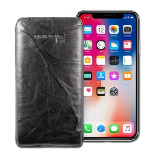 Gripis Genuine Leather Case Slider for Apple iPhone X/XS/11 Pro - Creased Black